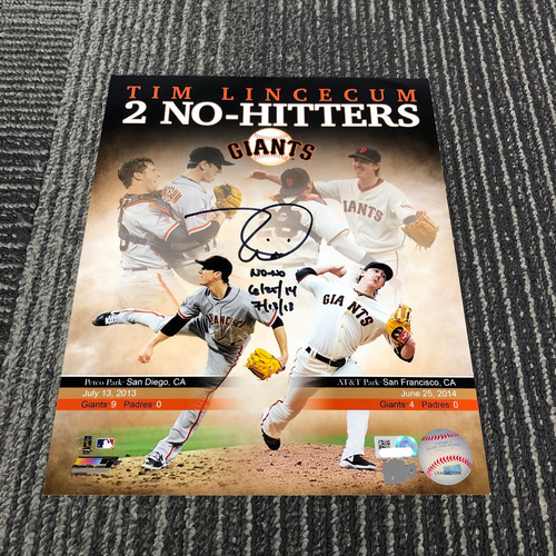 "Photo of Autographed 8 x 10 Photo - #55 Tim Lincecum No Hitter Collage - Inscribed "" No-No 6/25/14 & 7/13/13"""