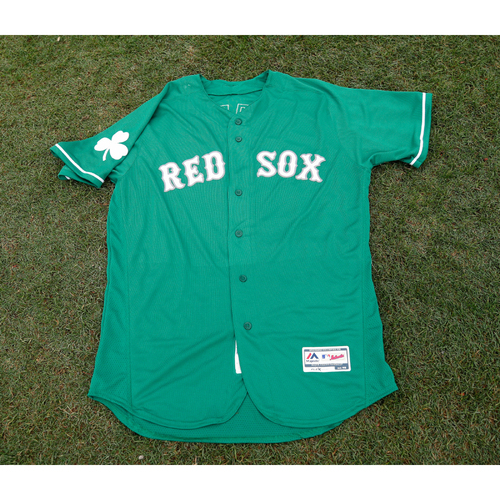 Photo of Red Sox Foundation St. Patrick's Day - Darwinzon Hernandez Game-Used and Autographed Jersey