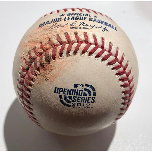 Photo of 2019 Japan Opening Day Series - Game Used Baseball - Batter: Dee Gordon Pitcher : Liam Hendriks - Sacrifice Bunt