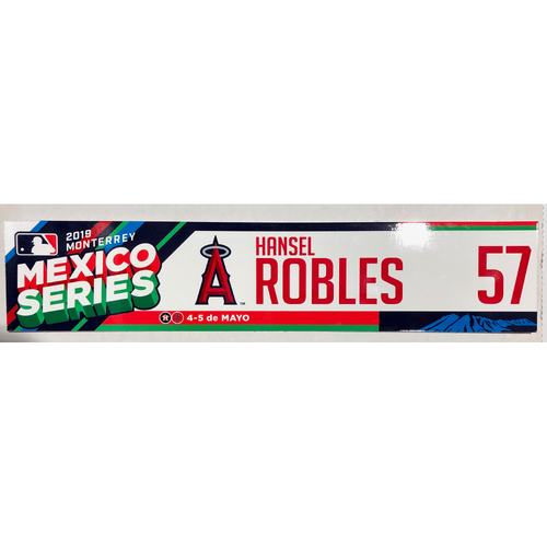 Photo of 2019 Mexico Series Game Used Locker Name Plate - Hansel Robles, Houston Astros at Los Angeles Angels - 5/4/19 - 5/5/19