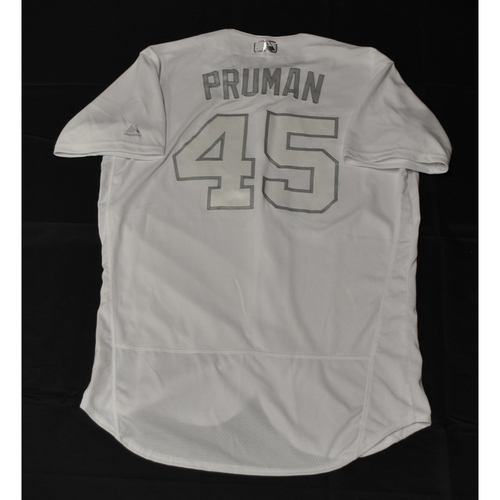"Photo of Austin ""PRUMAN"" Pruitt Tampa Bay Rays Game-Used 2019 Players' Weekend Jersey"