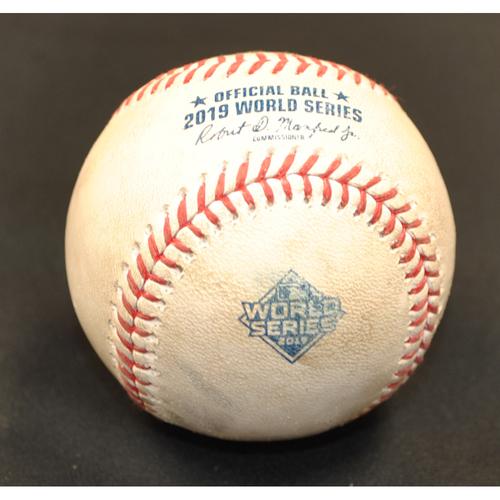Photo of Game-Used Baseball: 2019 World Series - Game 4: Pitcher: Hector Rondon, Batter: Asdrubal Cabrera (Foul) - Bot 7
