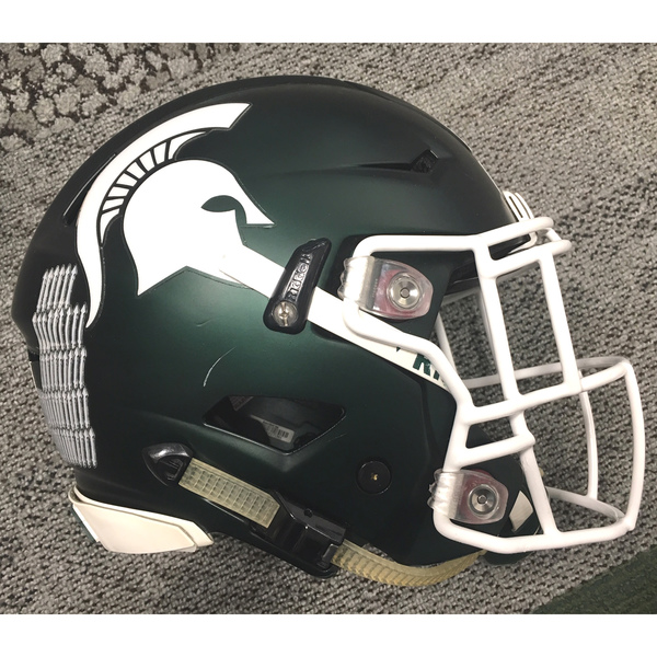 Photo of Game-Worn Spartan Football Green Helmet - Unsigned