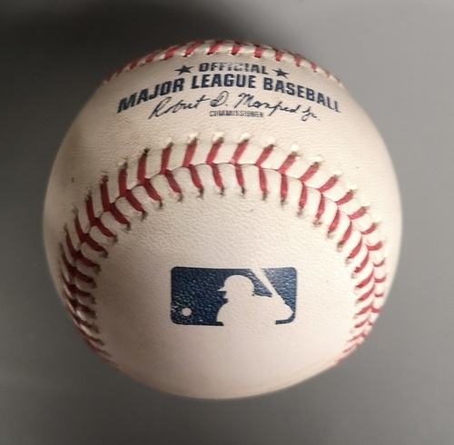 Photo of Authenticated Game Used Baseball - Foul by Kendrys Morales against Marcus Stroman (Apr 26, 19 vs OAK). Top 7. MLB Debut for Vladimir Guerrero Jr.
