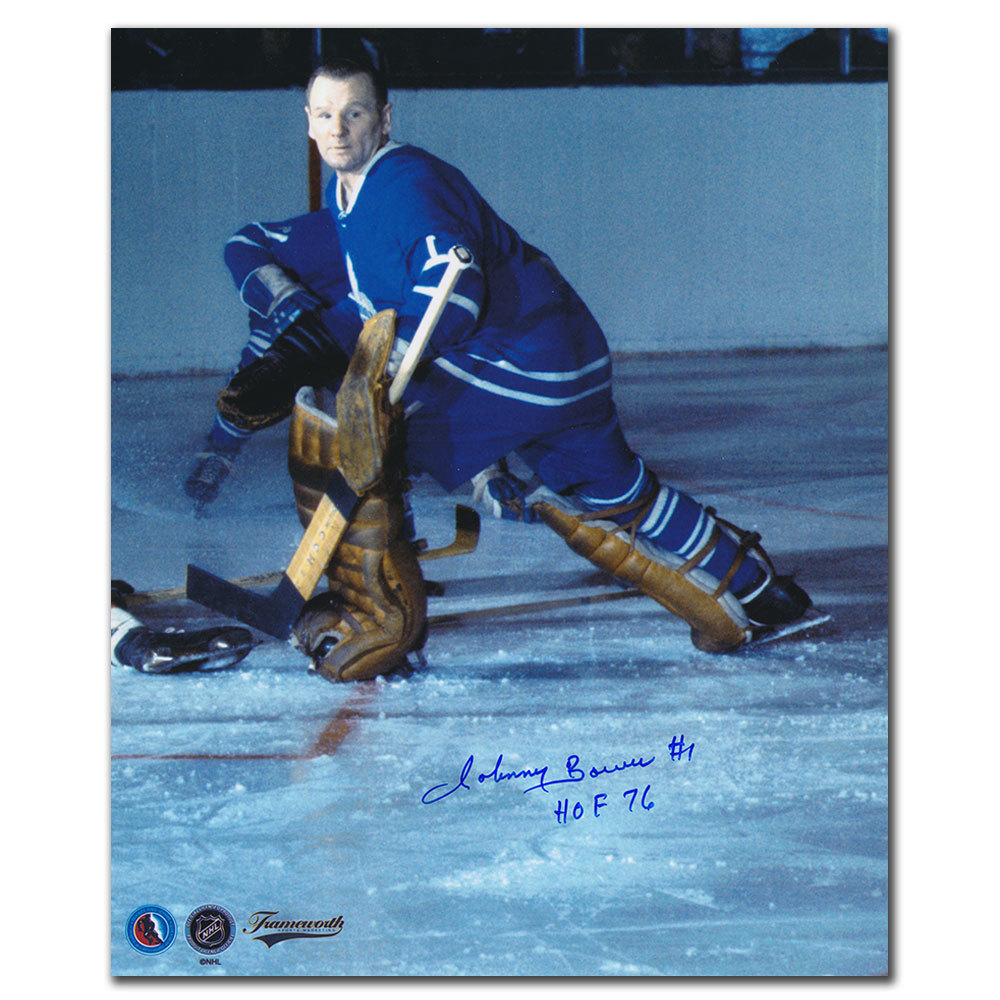 Johnny Bower Toronto Maple Leafs ACTION Autographed 11x14