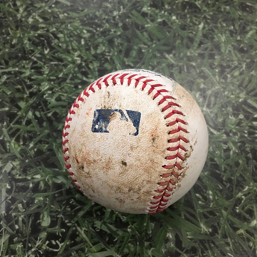 Photo of ALEC MILLS' NO-HITTER Game-Used Baseball CHC@MIL 09/13/20 - Corey Knebel - Javier Baez: Foul