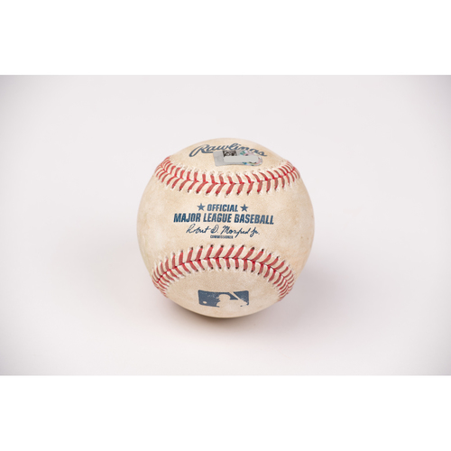 Photo of Game Used Baseball: Pitcher: Patrick Sandoval, Batters: Corey Seager (Strike Out), Justin Turner (Single) - Top 1 - 8-14-2020 vs. LAD