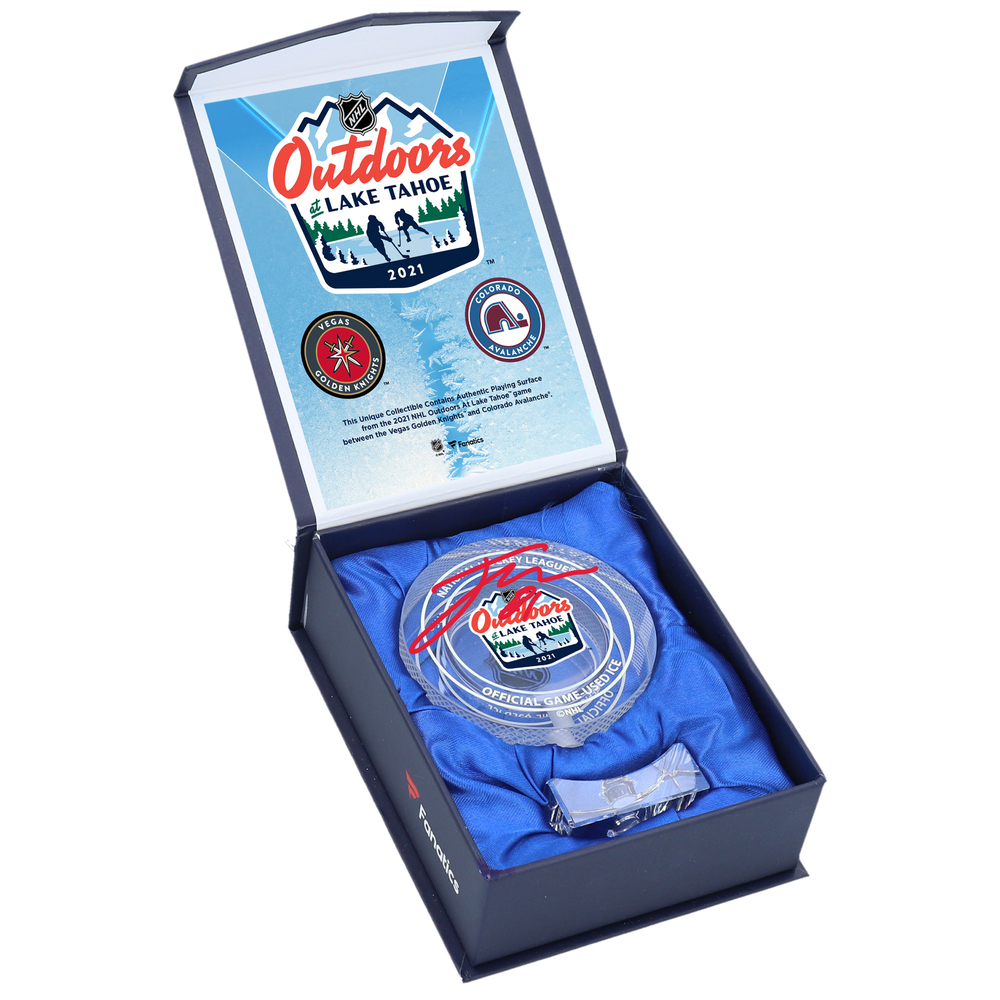 Jonathan Marchessault Vegas Golden Knights Autographed 2021 NHL Outdoor Games at Lake Tahoe Crystal Puck - Filled with Ice from the 2021 NHL Outdoor Games at Lake Tahoe
