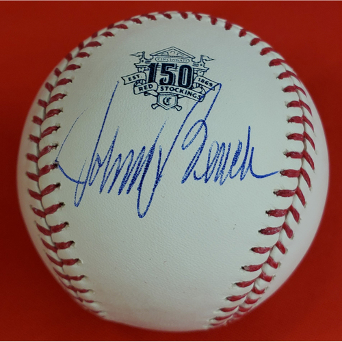 Photo of Johnny Bench Autographed Baseball with a 150th Anniversary Logo