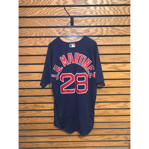 Photo of JD Martinez July 16, 2021 Game Used Road Alternate Jersey