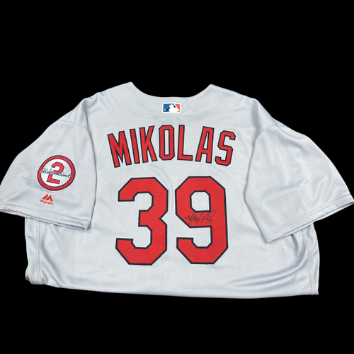 Photo of Miles Mikolas Autographed Team Issued Road Jersey w/ Red Patch (Size 52)