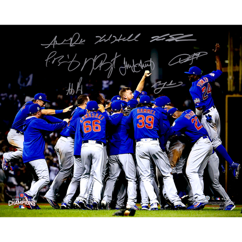 "Photo of Chicago Cubs 2016 MLB World Series Champions Autographed 16"" x 20"" World Series Dog Pile Photograph with 9 Signatures. #1 in a Limited Edition on 36"