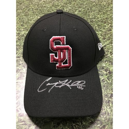 Photo of Corey Knebel Autographed, Game Worn Stoneman Douglas Eagles Cap