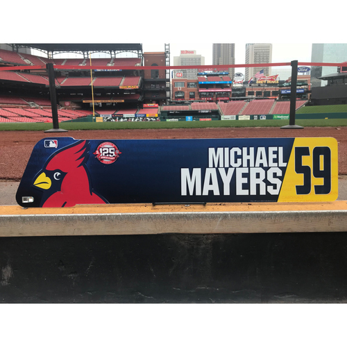 Photo of Cardinals Authentics: Michael Mayer Team-Issued Locker Tag