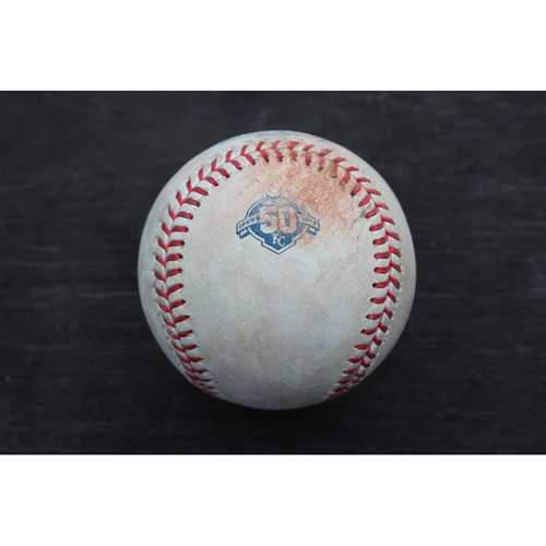 Photo of Game-Used Baseball: Miguel Sano 60th Career Double and 214th and 215th Career RBIs (MIN @ KC - 5/30/18)