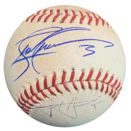 Photo of Autographed Game-Used Baseball from Pirates vs. Phillies on 6/12/15 - Harrison Single, Rodriguez Single