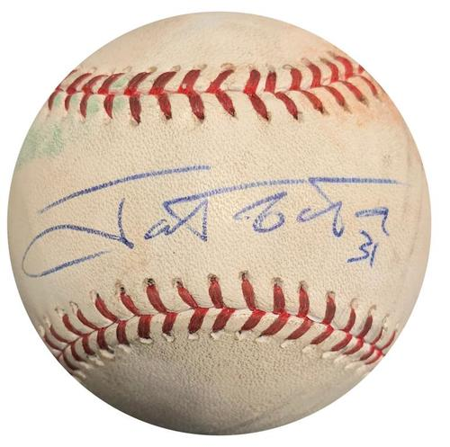Photo of Autographed Game-Used Baseball from Pirates vs. Rockies on 8/3/13 - Jose Tabata Triple