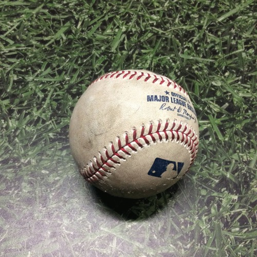 Photo of Game-Used Baseball LAD@MIL 04/21/19 - Brandon Woodruff - Alex Verdugo: Strike