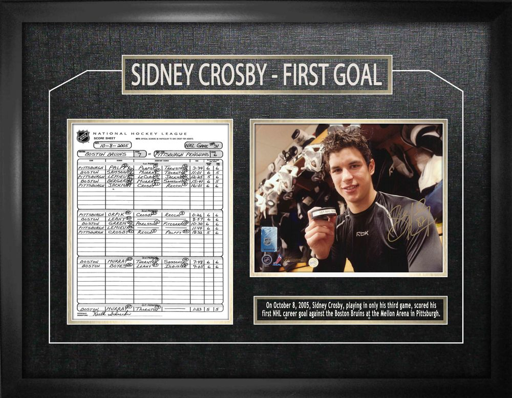 Crosby,S Signed 8x10 Etched Mat Penguins First Goal with Scoresheet