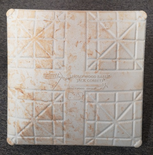 Photo of Authenticated Game Used Base - 3rd Base for Innings 4 to 6 (Jun 28-Jul 1, 19 vs KCR). Canada Day Weekend. In Place for Cavan Biggio's 1st Career Grand Slam.