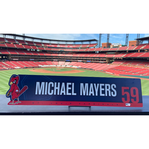 Photo of Cardinals Authentics: Game Used Mike Mayers Lockertag