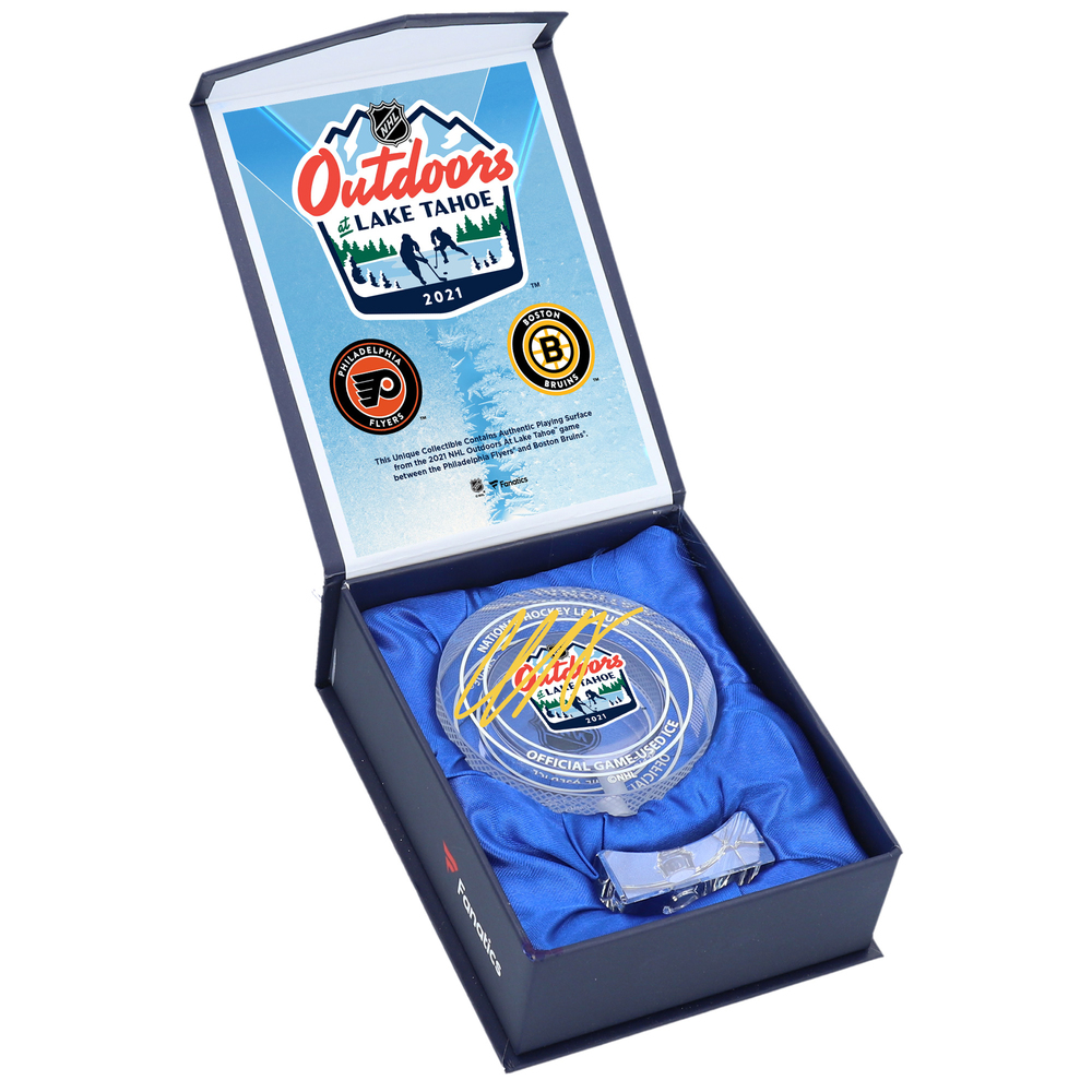 Charlie McAvoy Boston Bruins Autographed 2021 NHL Outdoor Games at Lake Tahoe Crystal Puck - Filled with Ice from the 2021 NHL Outdoor Games at Lake Tahoe