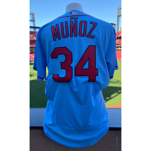 Photo of Cardinals Authentics: Team Issued Yairo Munoz Road Alternate Blue Jersey