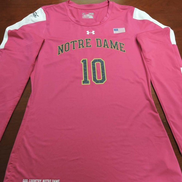 Photo of Notre Dame Volleyball Pink Jersey #10:  2016 Block Out Cancer Match, Under Armour® size M