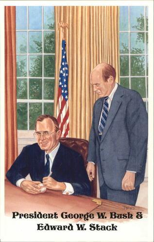 Photo of 1980-02 Perez-Steele Hall of Fame Postcards #F George H.W. Bush/Edward W. Stack -- Set #08689