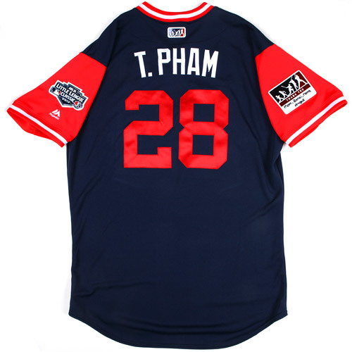 """Photo of St. Louis Cardinals Game-Used Little League Classic Jersey -  Tommy """"T. Pham"""" Pham #28"""