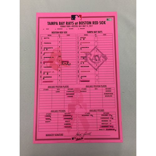 Photo of Rays vs Red Sox May 14, 2017 Game-Used Lineup Card - Rays Win 11 to 2