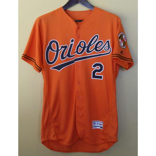 Photo of J.J. Hardy - Orange Alternate Jersey: Game-Used