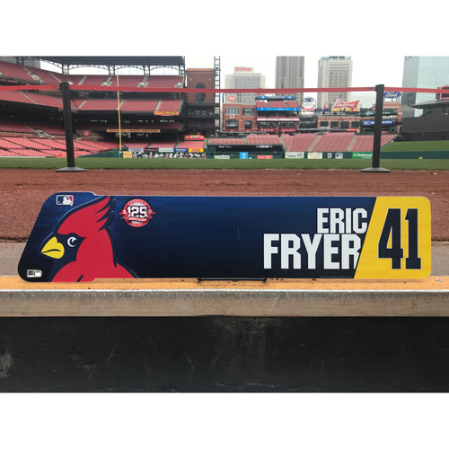 Photo of Cardinals Authentics: Eric Fryer Team-Issued Locker Tag