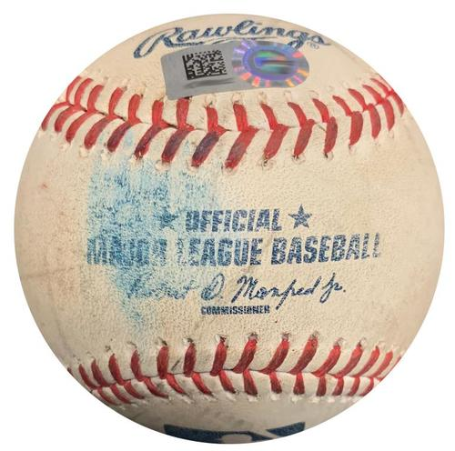 Photo of Game-Used Baseball from Pirates vs. Padres on 7/8/15 - Andrew McCutchen RBI Single