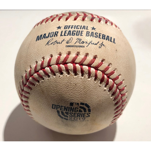 Photo of 2019 Japan Opening Day Series - Game Used Baseball - Batter: Ichiro Suzuki Pitcher : Joakim Soria - Strikeout