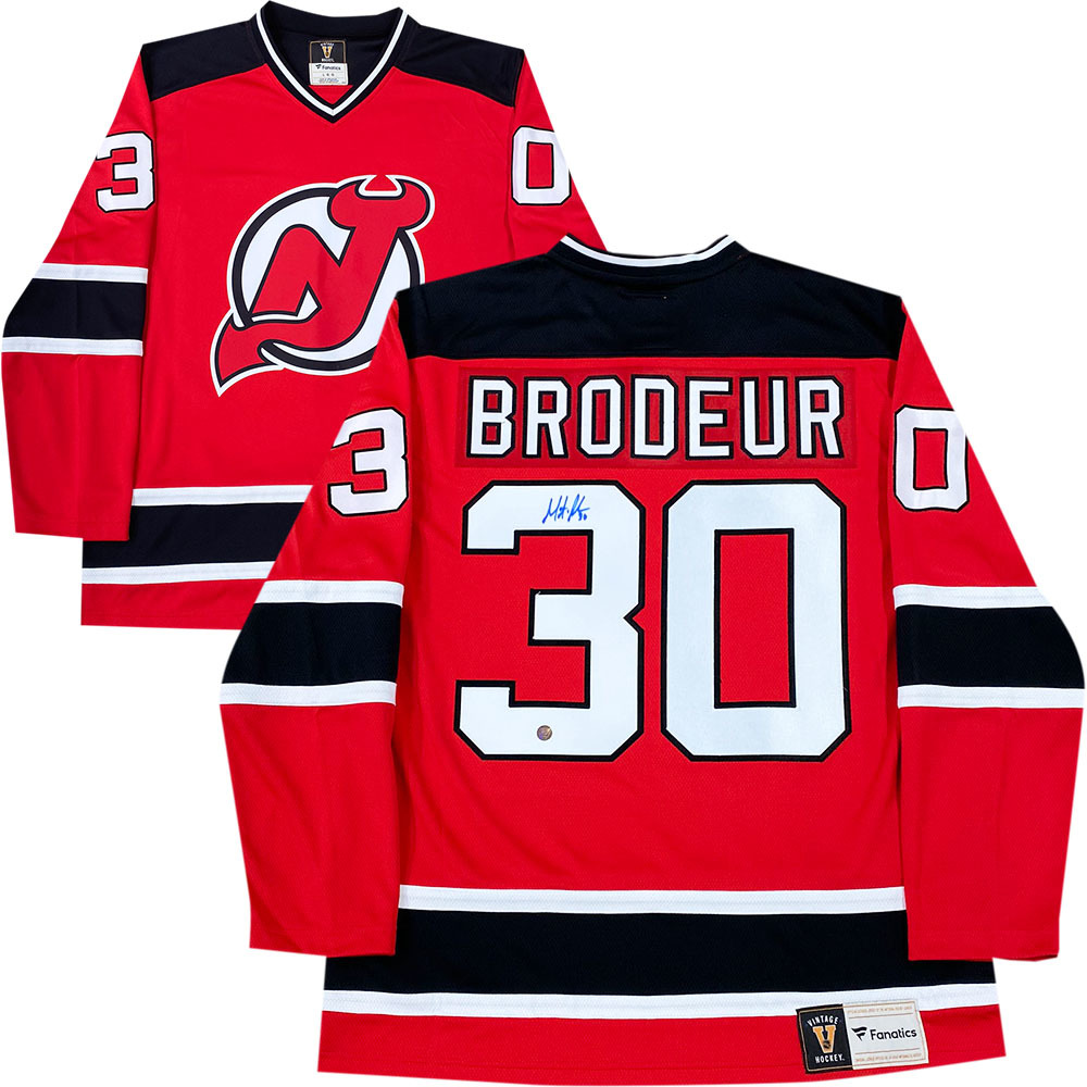 Martin Brodeur Autographed New Jersey Devils Fanatics Heritage Jersey