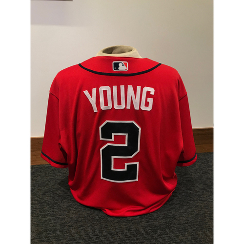 Photo of Eric Young 2019 Atlanta Braves Game-Used Los Bravos Day Jersey