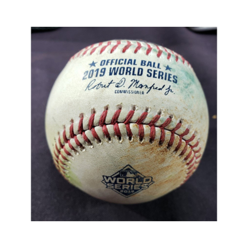 Photo of Game-Used Baseball: 2019 World Series - Game 1 : Pitcher - Gerrit Cole, Batter: Juan Soto (2-RBI Double to CF) - Top 5