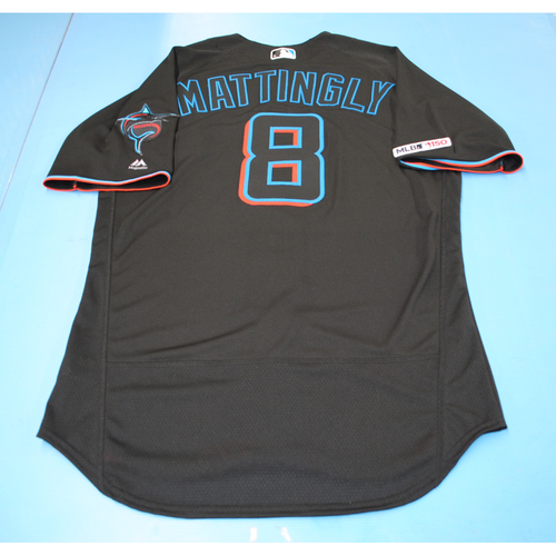 Photo of Game-Used Jersey - Don Mattingly - Black - Marlins vs Nationals - September 20, 2019 - Size 44
