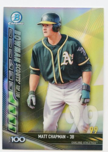 Photo of 2017 Bowman Chrome Scouts Top 100 Refractors #BTP99 Matt Chapman