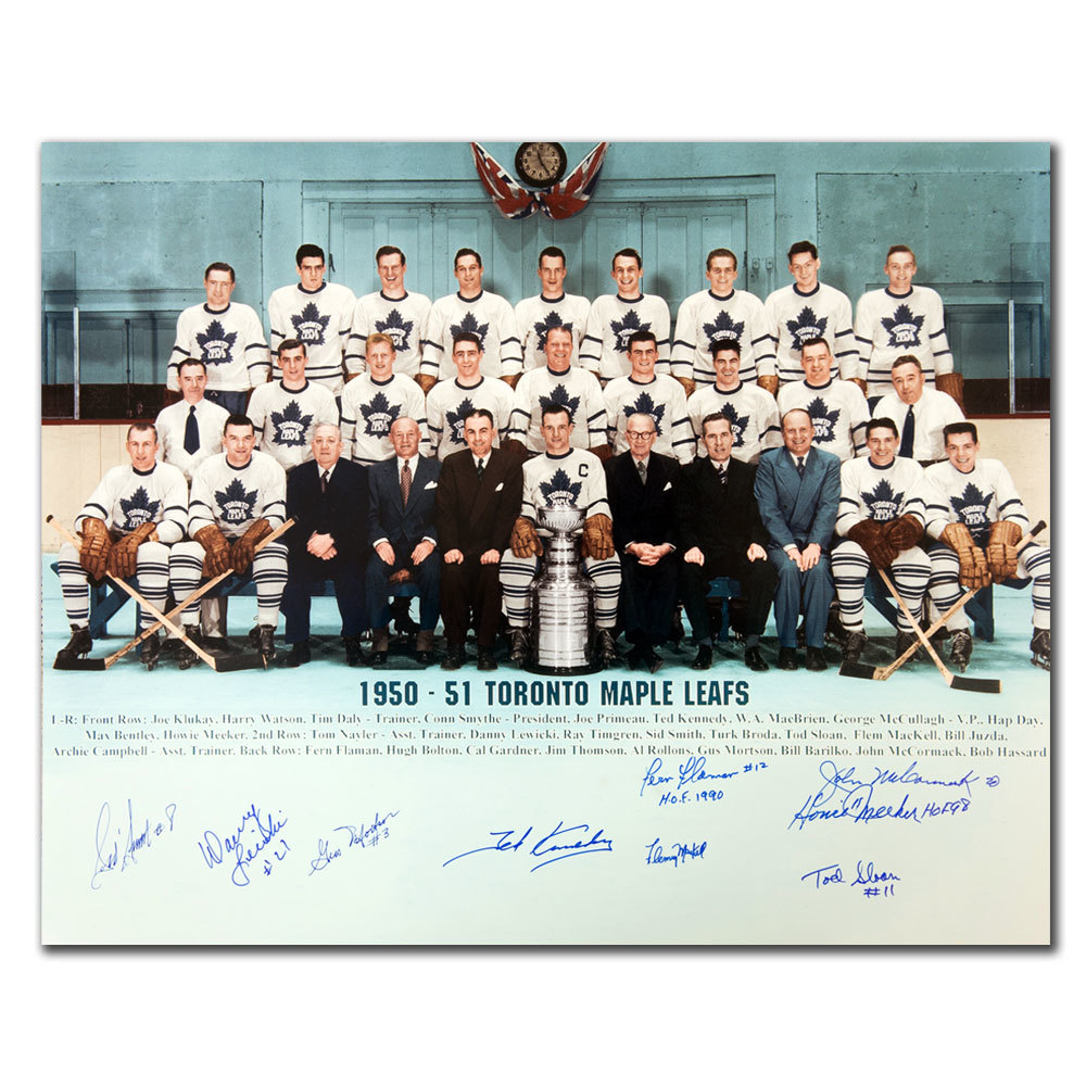 1951 Toronto Maple Leafs Stanley Cup Champions Team Autographed 16x20