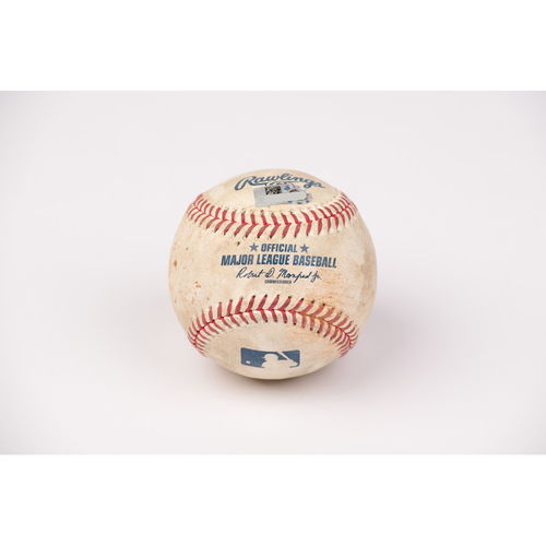 Photo of Game Used Baseball: Pitcher: Patrick Sandoval, Batters: Austin Barnes (Single), Mookie Betts (Ball in Dirt) - Top 3 - 8-14-2020 vs. LAD