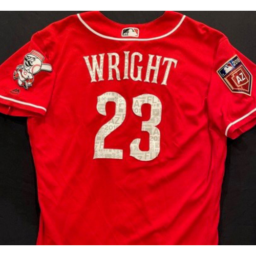 Photo of WRIGHT-23 -- Authentic Reds Jersey -- $1 Jersey Auction -- $5 Shipping -- Size 46 (Not MLB Authenticated)