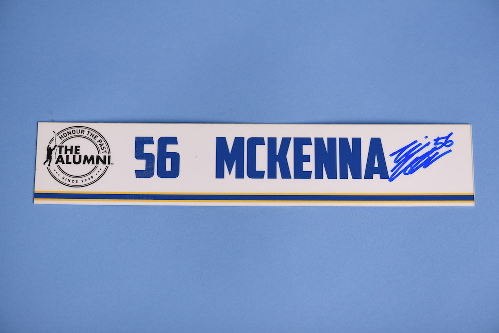 Mike McKenna autographed 2020 NHL Alumni All Star Game Locker Room Stall Nameplate