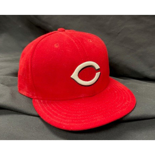 Photo of 2021 Opening Day Game-Used Cap -- Luis Castillo -- Reds Opening Day Starter -- Cardinals vs. Reds on 4/1/21 -- Size 7 7/8