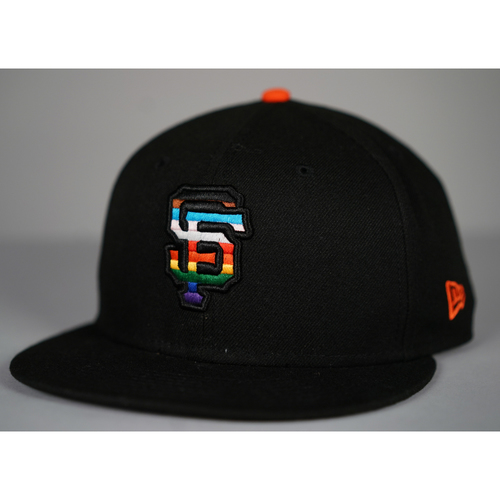 Photo of 2021 Game Used Black Cap with Pride Flag SF Logo - #41 Wilmer Flores - Worn 6/5/21 vs CHC - Size 7 1/2