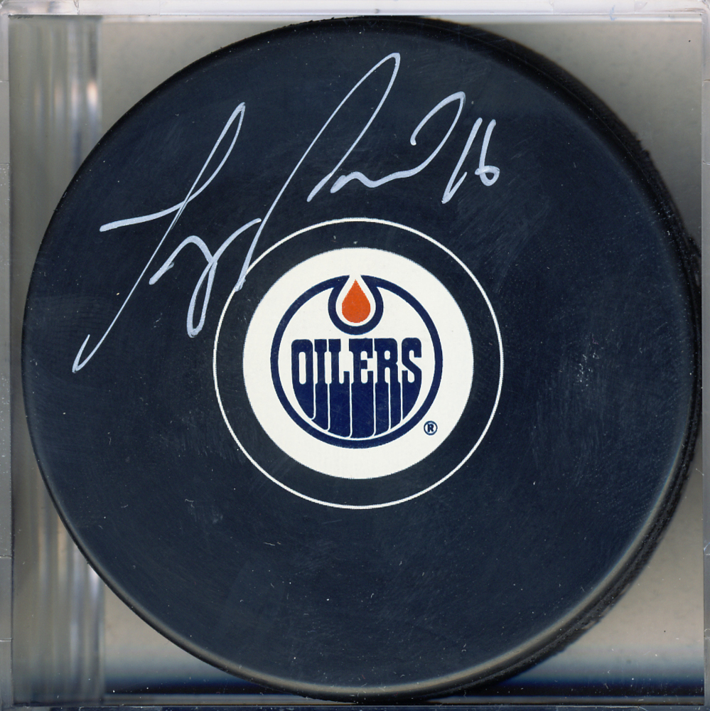 Teddy Purcell Edmonton Oilers Autographed Hockey Puck