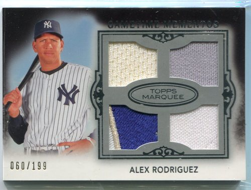 Photo of 2011 Topps Marquee Gametime Mementos Quad Relics Alex Rodriguez 60/199