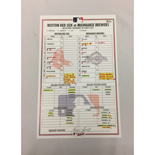 Red Sox vs Brewers May 9, 2017 Game-Used Lineup Card - Brewers Win 11 to 7