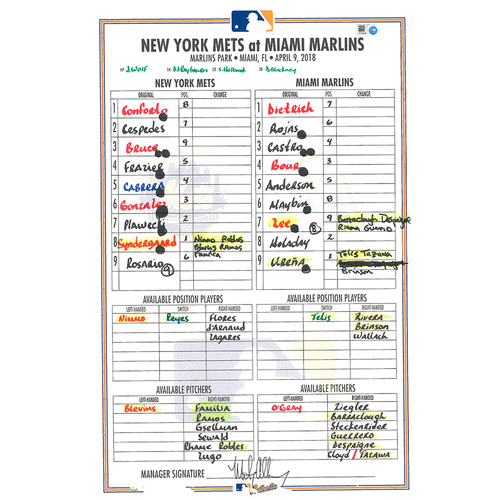 Photo of Game Used Lineup Card - Syndergaard Start, Earns 2nd Win, Mets Tie Franchise Record for Best Record to Start Season at 8-1 - Mets vs. Marlins - 4/9/18